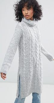 Cable Knit Roll Neck Jumper Dress