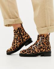Artillery Chunky Leopard Three Buckle Boots