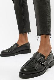 Fisher Chunky Leather Fringed Buckle Loafers