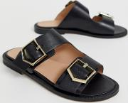 Sage Leather Black Buckle Flat Slip On Mules