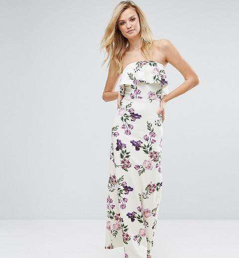 Oh My Love Tall Bandeau Frill Maxi Dress In Floral Print Obsessory