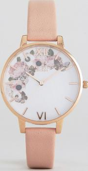 1052138 enchanted garden leather watch in pink & rose gold