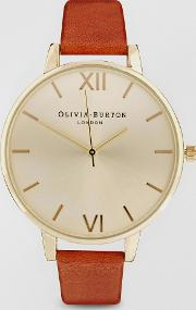 Big Dial Tan Watch