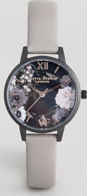 Ob16ad24 After Dark Floral Leather Watch In Grey