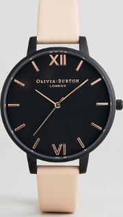 ob16ad25 after dark leather watch in peach