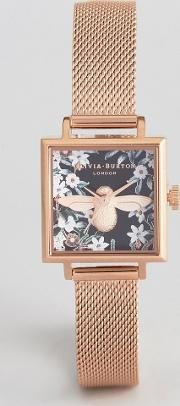 ob16am134 bejewelled floral square mesh watch in rose gold