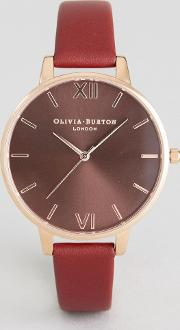Ob16bd106 Chocolate Dial Leather Watch In Burgundy