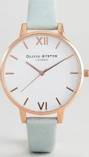 ob16bdw36 white dial leather watch in sage
