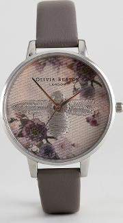 ob16em05 embroidered dial leather watch in grey