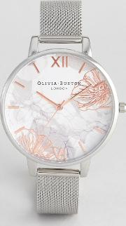 ob16vm20 abstract floral mesh watch in silver