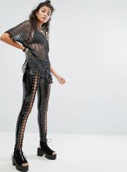 Lace Up Trousers In High Shine Vinyl
