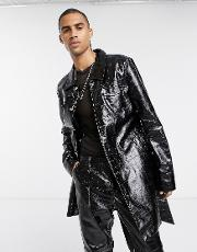 Patent Croc Trench Coat Contrast Lime Stitch