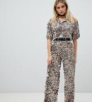 wide leg trousers in textured leopard co ord