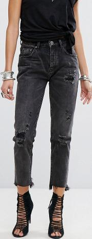 Awesome Baggies Highwaisted Jean With Rips And Raw Hem