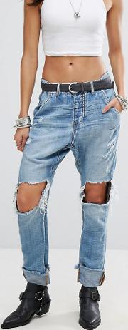 Cavalries Roll Hem Jeans With Ripped Knees
