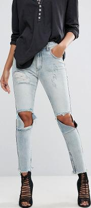 freebirds high waisted skinny jean with extreme rips