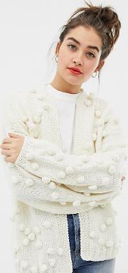 Exclusive Hand Knitted Pom Cardigan