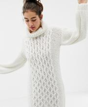 Hand Knitted Cable Jumper Dress With Roll Neck