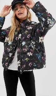 Aya Floral Padded Jacket With Hood