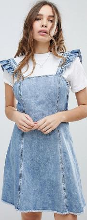 cami ruffle denim pinafore dress