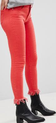 coloured skinny jean with frayed hem