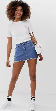 Denim Mini Skirt With Raw Hem