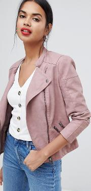 Faux Leather Biker Jacket