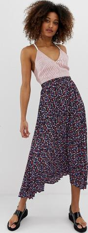 Floral Ditsy Pleated Midaxi Skirt