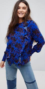 Floral High Neck Blouse With Ruffles