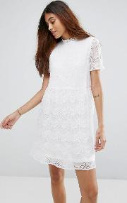 Kik High Neck Lace Skater Dress