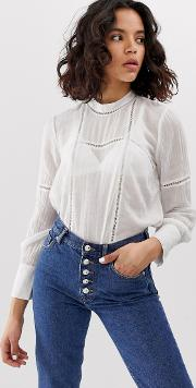 Lace Insert Cheesecloth Blouse