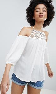 off shoulder top with crochet insert