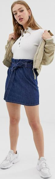 Paperbag Belted Denim Skirt