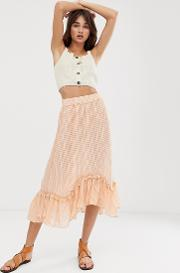 Sheer Check Midi Skirt With Ruffle Hem