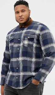 Checked Shirt With Cord Collar