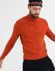 Chunky Cable High Neck Jumper