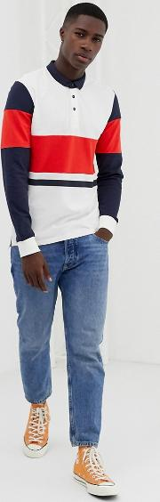 Long Sleeve Polo Shirt With Colour Block Details