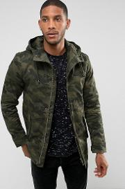 Padded Parka With Camo Print