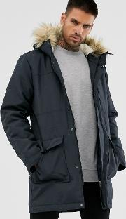 Parka With Borg Lined Hood And Removable Faux Fur
