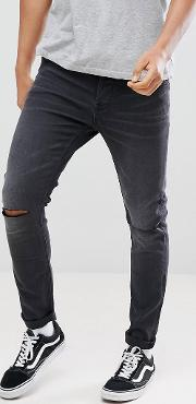 Skinny Jeans Washed With Knee Rip