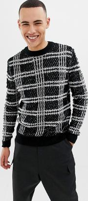 Textured Checked Knitted Jumper