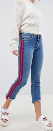 straight leg crop jean with sports stripe
