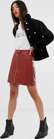 Textured Faux Leather Zip Through Skirt