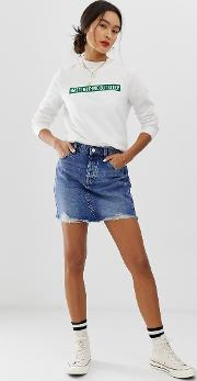 Vintage Wash Destroyed Denim Mini Skirt