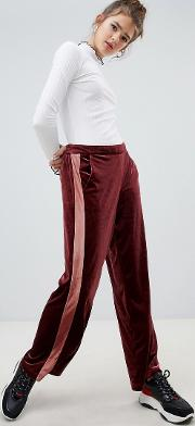 wide leg sports stripe velvet trouser