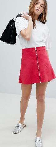 zip through faux suede  line skirt