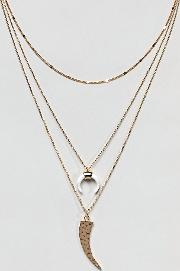 gold layering necklace pack with cresent detail