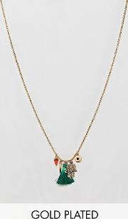 gold plated medina charm cluster necklace