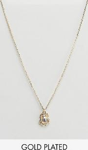 Plated Scarab Charm Pendant Necklace