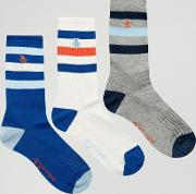 3 pack retro sport style socks